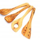 Handmade Olive Wood Utensil set : 1 Spoon, Spatula, pierced spatula, sauce spoon