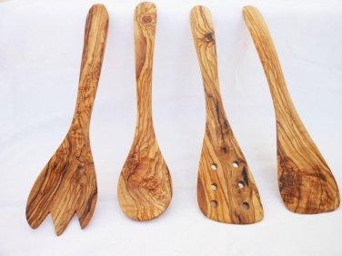 Handmade Olive Wood Utensils 11.8 inches: Spatula, pierced Spatula, Spoon, Spork