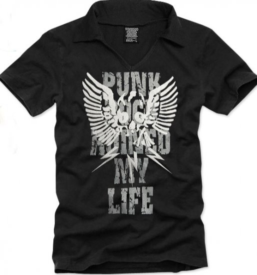 V-neck short sleeve men's t-shirt - Punk Rock