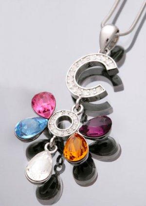Swarovski Crystal & Saphire Butterfly Pendant Necklace