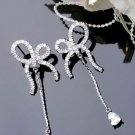 Silver Plated Cubic Zirconia Stud Shining Ribbon Tear Drop Earrings