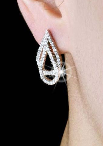 Silver Plated Cubic Zirconia Stud Double Tear Drop Earrings