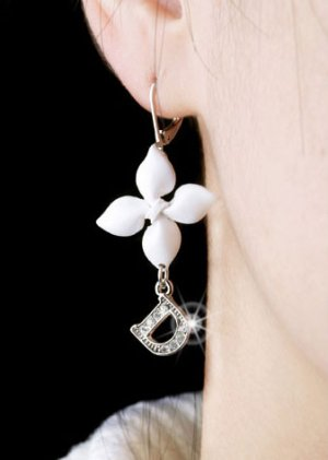 Silver Plated Cubic Zirconia Stud White Flower Earrings