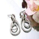 Silver Plated Cubic Zirconia Stud Double Twin Twister Earrings