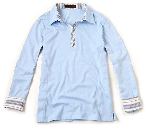 Button Point Collar Long Sleeve T-shirts For Men