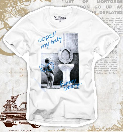"""Oops!! my baby"" Hollywood Vintage Style Men's T-shirt"