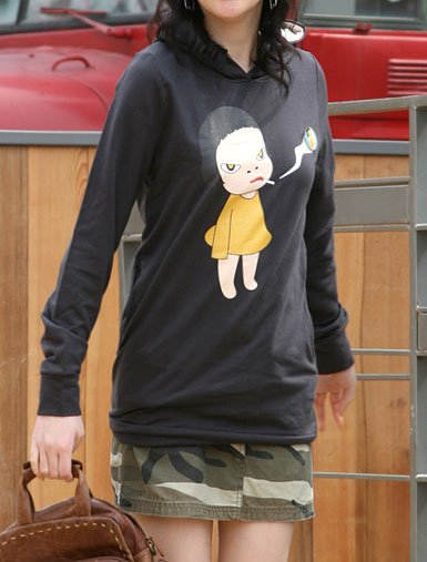 Artist Yoshitomo Nara's Artwork Hood T-shirt for Women