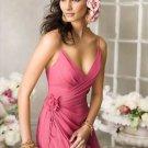 Hot Sell A-Line V-neck Chiffon Charmeuse Cheap Evening Dresses