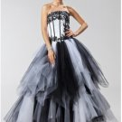 A-Line Strapless Floor-Length Chiffon Cheap Evening Dresses