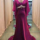 Long section of the V-neck with sleeves elegant evening dresses