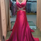 The new V-neck rose red tail length evening dress