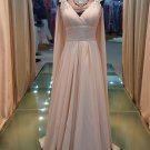 Shoulders with sleeves champagne elegant evening dresses