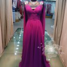 Purple belt sleeve sexy V section elegant evening dresses