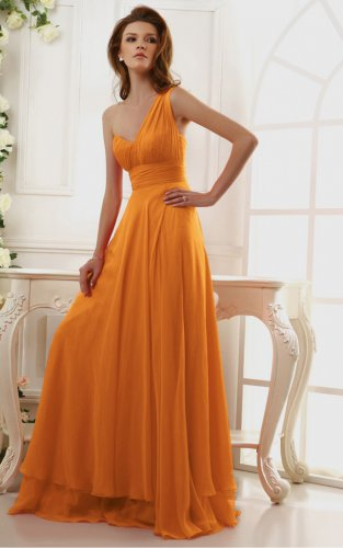 Orange Floor-length One Shoulder Evening Dresses