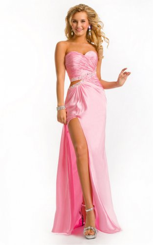 Pink Floor-length Sweetheart Dresses