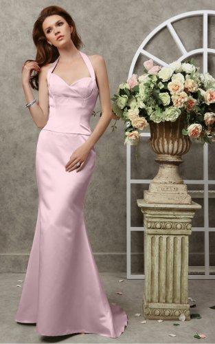 Pink Sheath Floor-length Halter Evening Dresses