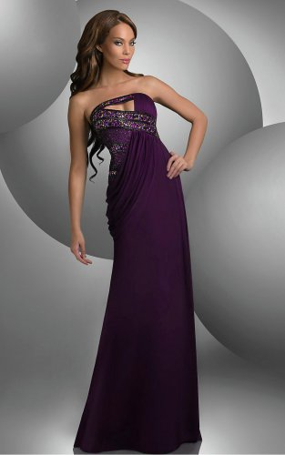 Purple Sheath Floor-length Strapless Dress