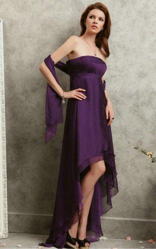 Purple A-line Asymmetrical Strapless Dresses