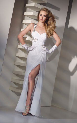 Sexy White Sheath One Shoulder Evening Dresses