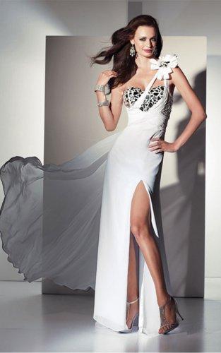 White One Shoulder Floor-length Evening Dresses