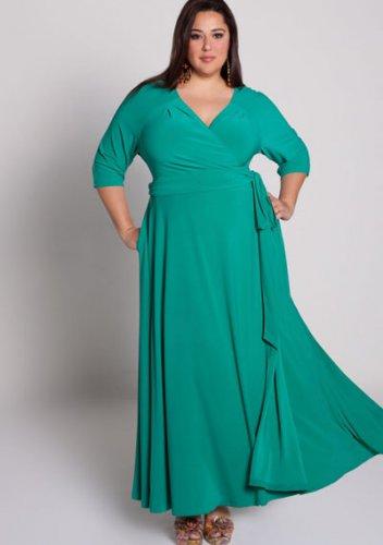 plus size evening dress Celebration Wrap Dress in Jade