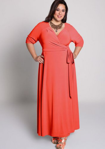 plus size evening dress Celebration Wrap Dress in Coral