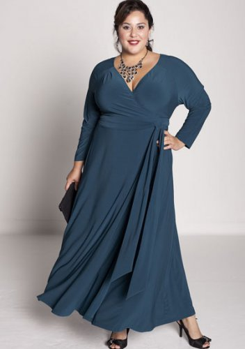 plus size evening dress Claire De Lune Wrap Dress in Teal