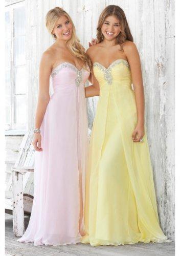 Strapless Neckline Beaded Bodice Empire Long Prom Dresses