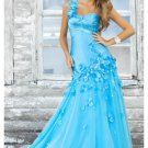 Satin and Organza Sweetheart Neckline One Strap Accents Long Prom Dresses