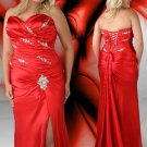Long Lace Up Slits Red Plus Size Prom Dresses