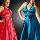 Length Low V Neck Halter Fuchsia Plus Size Prom Dresses