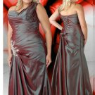 V Neck One Shoulder Lace Up Beaded Silver Plus Size Prom Dresses