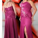 Asymmetric V Neck Long Purple Plus Size Prom Dresses