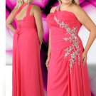 Lace Beaded Water Melon Plus Size Prom Dresses