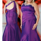 Beaded Floor Length Purple Plus Size Prom Dresses