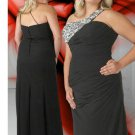 Floor Length Beaded Elegant Black Plus Size Prom Dresses