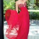 Floor Length Red Sweetheart Chiffon Prom Dresses
