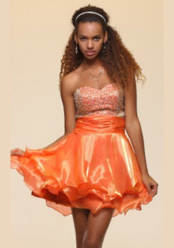 A-line Sweetheart Short/ Mini Tiered Short Prom Dresses