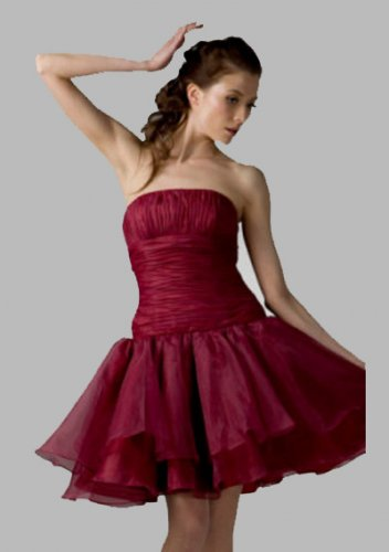 Ball Gown Strapless Knee-length Organza Short Prom Dresses