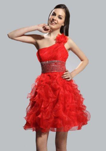 Shoulder Short/ Mini Organza Elastic Woven Satin Cocktail Dress