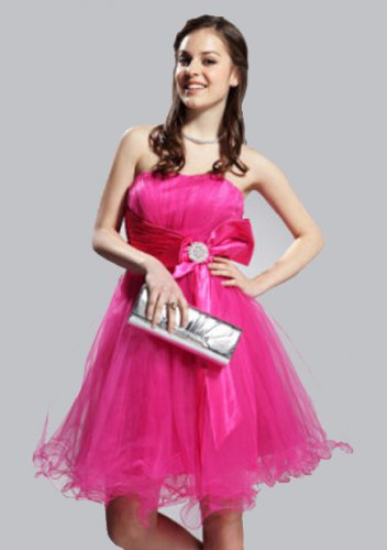 A-line Strapless Short/ Mini Satin Short Prom Dresses