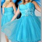 Flower Sweetheart Short Strapless Beaded Blue  Plus Size Cocktail Dresses