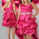 Pick One Shoulder Beaded Short Lace Up Fuchsia  Plus Size Cocktail Dresses
