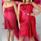 Short Strapless Crystal Sleeveless Red  Plus Size Cocktail Dresses