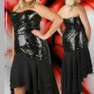 Strapless Long Black  Plus Size Cocktail Dresses