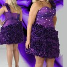 Ruffles Short One Shoulder  Short Crystal Purple Plus Size Cocktail Dresses