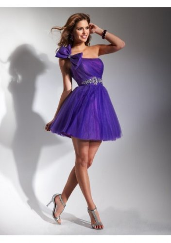 Asymmetrical Neckline A-Line 2012 Short Cocktail Dresses