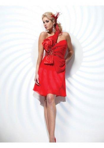 Chiffon Asymmetrical Neckline Bodice A-Line Short Cocktail Dresses
