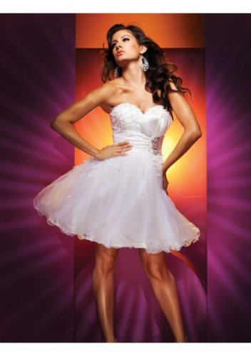 Strapless Sweetheart Neckline Ribbon Bow A-Line 2012 Short Cocktail Dresses