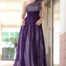 One Shoulder Transparent Purple Tulle With Sequins Bride Mother Dresses